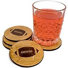 "4 Football Premium Coaster Set 3.5"" Round Wood High Gloss Permanent Seal Man Cave Barware Gift Idea"