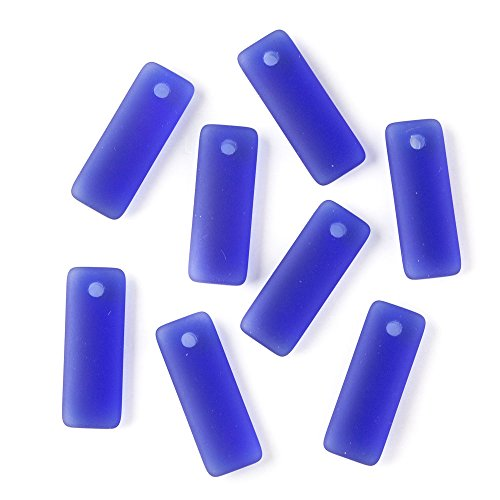 Art Glass Focal Bead - Cherry Blossom Beads Top Drilled Royal Blue Cultured Sea Glass 12x32mm Rectangle Pendants - 8 Per Bag