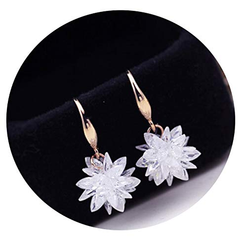 - Rose/White Gold Color 100% Austria Crystal Flower Design Drop Earrings,Platinum Plated,White