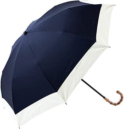 100%完全遮光 99%ではダメなんです! 【Rose Blanc】 日傘 晴雨兼用 2段折りたたみ レディース コンビ(傘袋付) 50cm