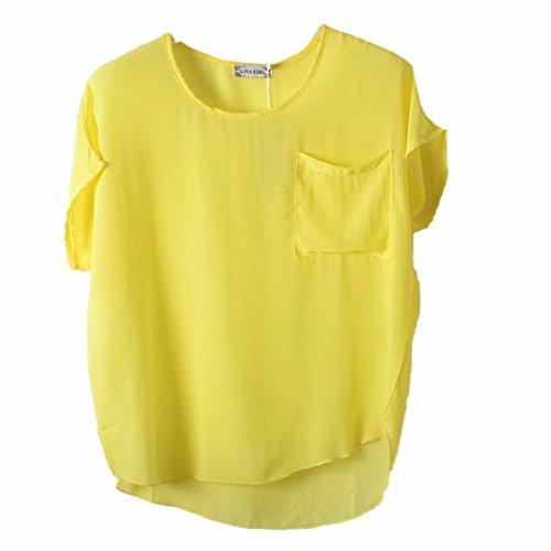 Nuevos Murcielago Corta Mujeres De La Manga Solida Capucha Gasa Del Color Camisetas Blusas Perspectiva Ligeramente Amarillo