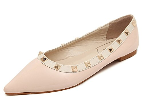 Chfso Womens À La Mode Confortable Cloutés Bout Pointu Coupe Basse Robe Slip Sur Les Chaussures Chaussures Rose