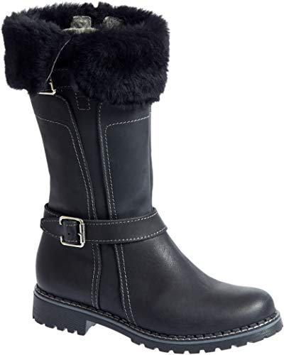 (Overland Women's Adelyn Wool-Lined Leather Boots with Shearling Trim)