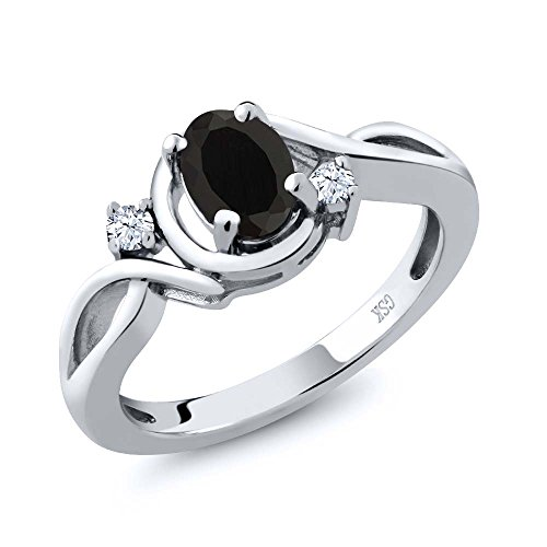 0.76 Ct Oval Natural Black Onyx and White Topaz 925 Sterling Silver Ring (Available in size 5, 6, 7, 8, 9)