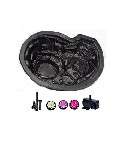 Pro Interior Liner (VICTORIA FLEXFORM CUSTOM PRO POND KIT - Preformed Flexible Plastic Water Garden Kit with Pump, 2 Fountain Heads and Silk Lilies - Durable and Easy to Use - Holds 31 Gallons - For All Climates - Black - Great Yard and Deck Decor)