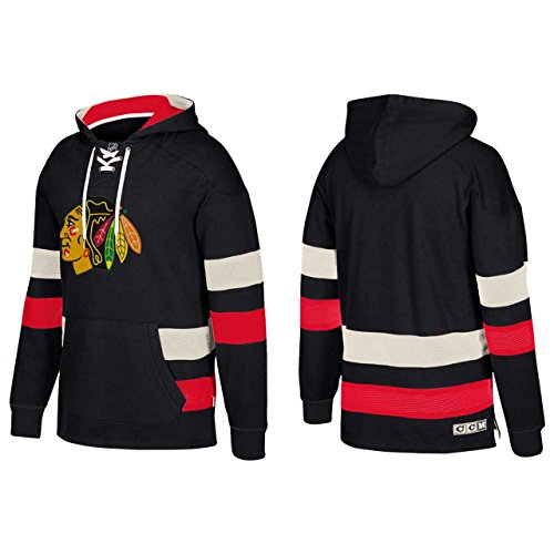 adidas NHL Chicago Blackhawks Ccm Pullover Jersey Hood, Black, Medium