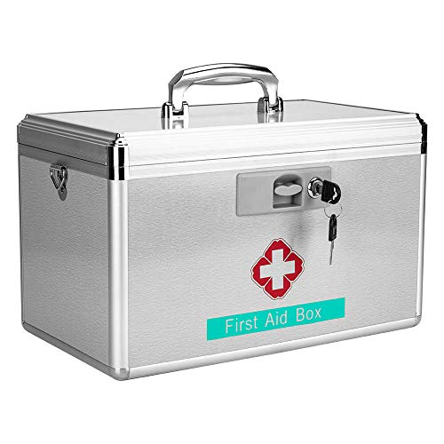 "Emergency Medicine Box Storage – Empty Portable First aid Kit Medical Suppliers Organizer Pill Case Collection Container with Lock for Home Household Healthcare 15.9″ L× 8.8″W × 9.1H"" (X-Large)"