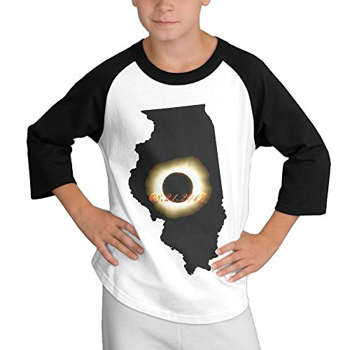 HyRag Illinois Total Solar Eclipse 2017 Youth Boy's Raglan Tee 3/4 Sleeve Baseball T-shirt Black for $<!--$17.50-->