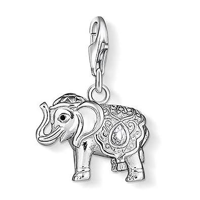 Thomas Sabo Women-Charm Pendant Elephant Charm Club 925 Sterling silver black zirconia white 1050-041-14 B16Owu