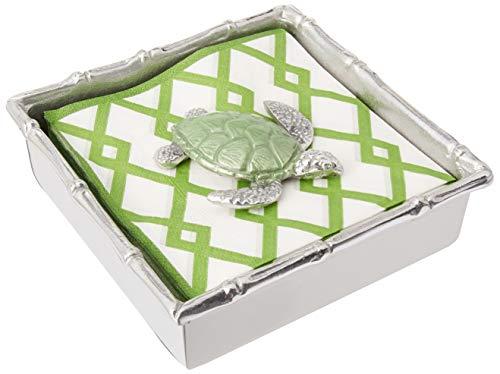 MARIPOSA Green Sea Turtle Bamboo Napkin, Silver