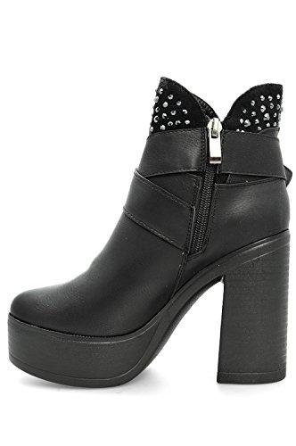 Alx Trend Chaussures femme Bottines avec boucle et strass Shey - Noir