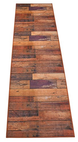 Nature Inspired Printed Runner Rug Slip Resistant TPR Rubber Back Exotic Patterns (Wood Burnt Orange, 1