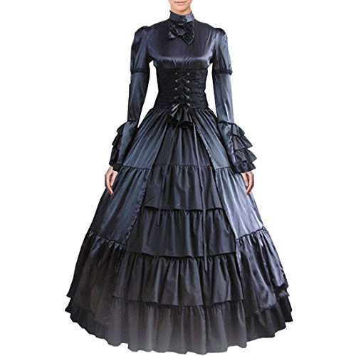 [Partiss Women Bowknot Stand Collar Gothic Victorian Lolita Dress Costumes, XL, Black] (Comic Con Costumes For Females)