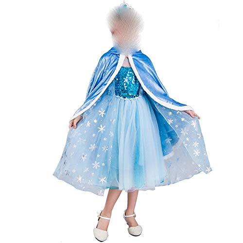 Zhao Li Costumes Frozen Princess Dress Aisha Girl Dress Long Sleeve Aisha Dress Thin Summer New Tutu/Blue Dancing unifom (Color : Blue, Size : 150cm)]()