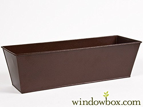 72in. Galvanized Tapered Window Box- Powder Coated Textured Bronze Finish by Windowbox