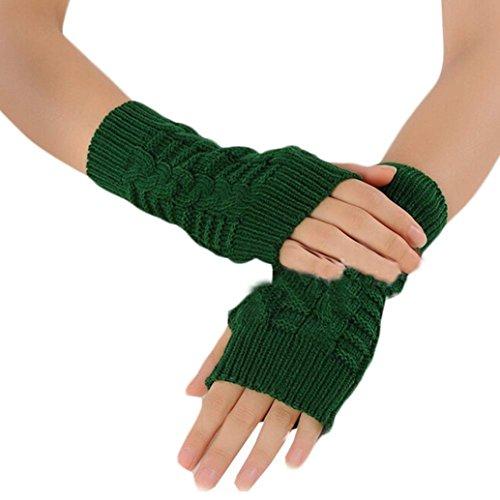 流産登山家リフレッシュCreazy ® Hemp花指なしニットショート手袋(グリーン)