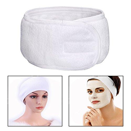 Itian Bandeau de maquillage Spa, bandeau en tissu éponge, bandeau de yoga sport, bandeau de douche, 3 morceaux (blanc)
