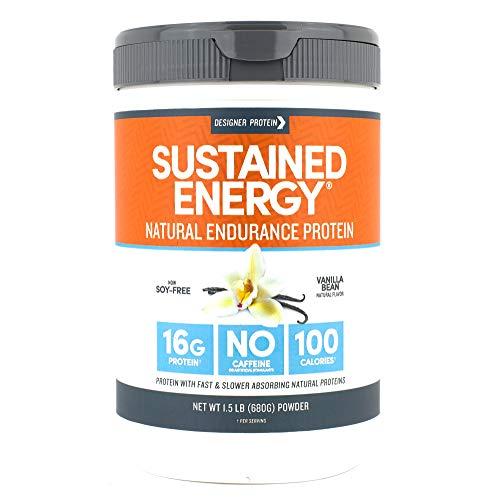 Energy Protein Powder - Designer Protein Sustained Energy, Vanilla Bean, 1.5 Pound, Endurance Protein Powder