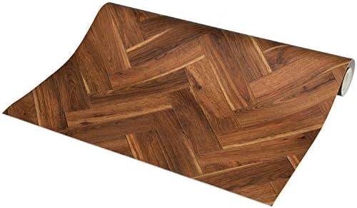 ラグリエ ヘリンボーン フロアマット ダークオーク 約90×150cm リメイク床シート 木目
