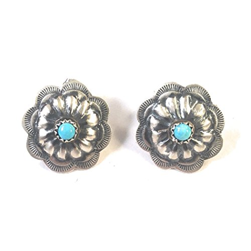 Navajo Sterling Silver Turquoise Hand Stamped Post Earrings Signed from Nizhoni Traders LLC