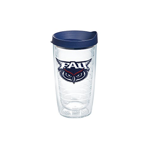 Tervis 1084947 Florida Atlantic University Emblem Individual Tumbler with Navy lid, 16 oz, Clear (Fau Owls)