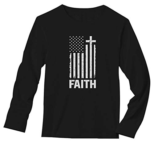 Christian Distressed White USA Flag - Cross Have Faith Long Sleeve T-Shirt X-Large Black Crosses Long Sleeve Mens T-shirt