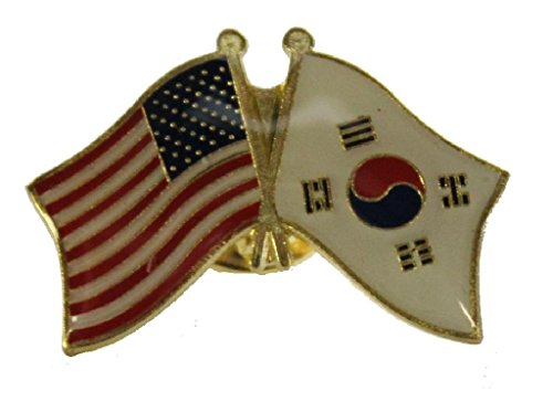 Countries of the World International Flag Pin, Lapel, Hat, Tie, Etc. (USA/South Korea) (Usa Korea Lapel Pin)