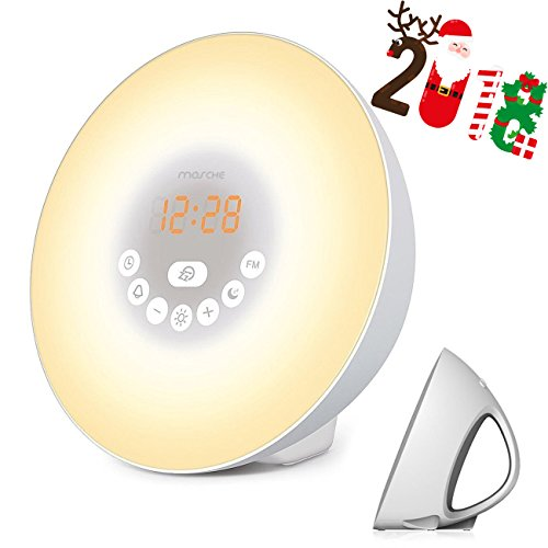 -[ Wake Up Light, Sunrise Alarm Clock with Smart Snooze Function, Nature Sounds, FM Radio - Touch C