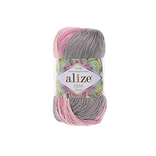 (100% Mercerized Cotton Yarn Alize Miss Batik Thread Crochet Lace Hand Knitting Craft Art Lot of 4skn 200gr Color Gradient 3245)