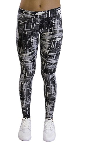 Velocity – Soft, Comfy, Printed Leggings – Full Length Yoga Pants – Astro Grey – Medium