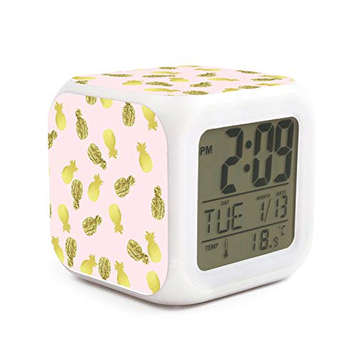- WOWorldgoods Gold Foil Pineapple Theme Figure Funny 7 Colors LED Changing Digital Alarm Clock Cube LCD Clock Home Decor