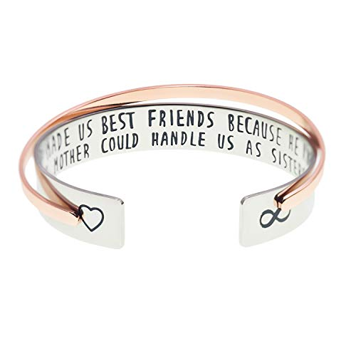 Melix Home God Made Us Best Friends Because He Knew No Mother Could Handle Us As Sisters Stainless Steel Bracelets Set of 2(God Made Us Best ()
