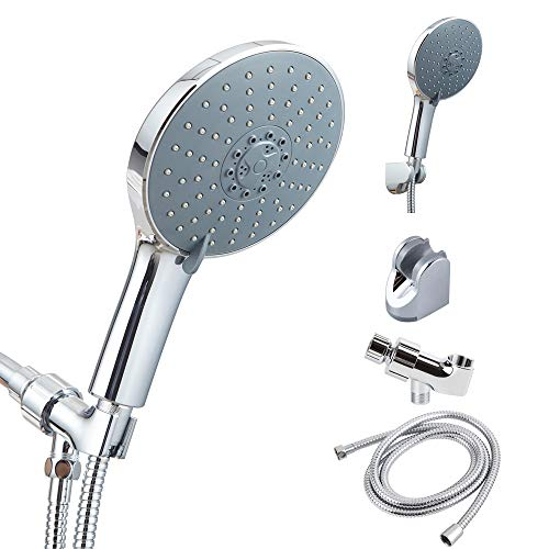 (AWESON 6 Inches, 7 Settings, Handheld Showerhead, High Pressure Hand Held Shower Head with 2 Meters Shower Hose and 2 Pieces Adjustable Brackets, Teflon Tape, Chrome Finish (6