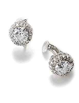 Silver Crystal Cubic Zirconia with Little Stud Wrapped Rondelle Circle Round Shape Earrings