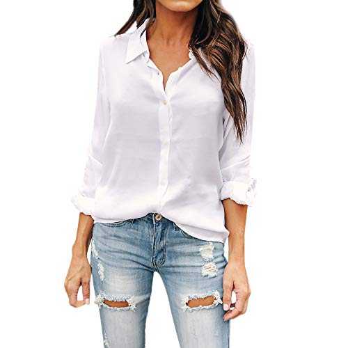 Womens Solid Long Sleeve V-Neck Fancy Tie Chiffon Office Shirt Elegant Tops