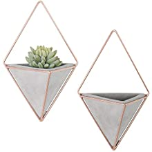 MyGift Triangular Cement Hanging Wall Planters with Rose Gold-Tone Metal Frames, Set of 2