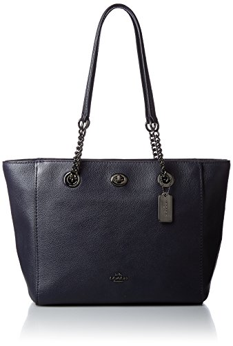 Coach Turnlock Chain Ladies Medium Leather Tote Handbag 57107DKNAV
