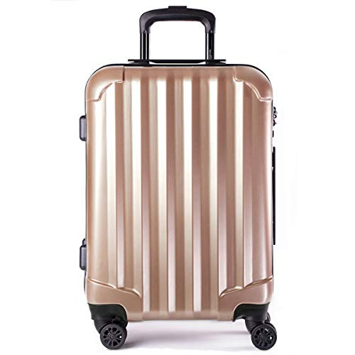 Genius Pack Hardside Luggage Spinner - Smart, Organized, Lightweight Suitcase - TSA Approved Maximum Allowance Cabin Size (Supercharged - Rose Gold)