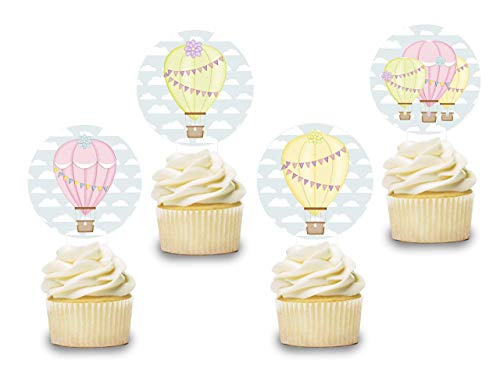 Hot Air Balloon Cake Topper Decor 12 PCS, Girls Cupcake Picks Baby Shower, Pink Birthday Party Decorations Supplies Baby Yellow Themed, Gender -
