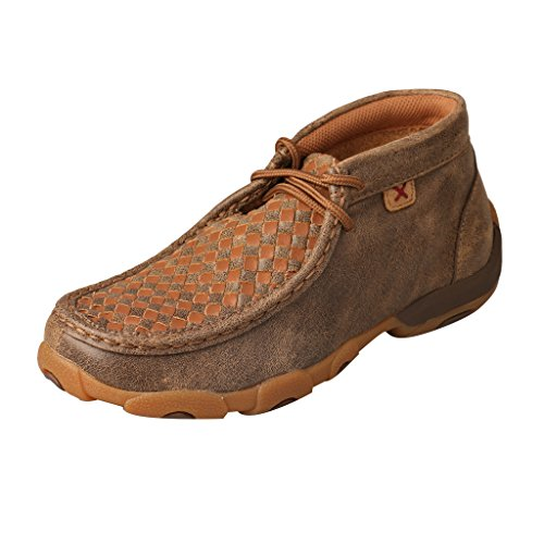 Twisted X Youth's Leather Lace-Up Rubber Sole Driving Moccasinss - - Tan Moccasin Kids