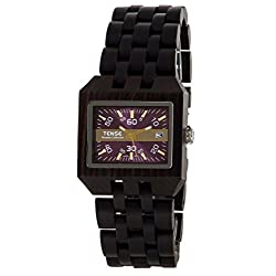 Tense Discovery Comox Rectangular Dark Sandalwood Wood Watch B5100D Violet