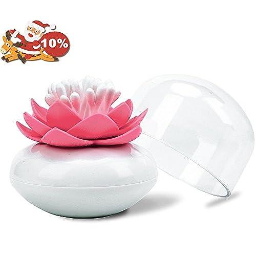 Bloss Cotton Swab Holder Lotus Q Tip Dispenser Decorative Bathroom  Accessories, Pink