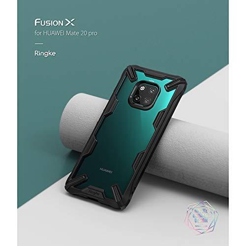 Ringke Huawei Mate 20 Pro Mobile Cover Fusion-X Transparent Shock Absorption TPU Bumper Case - Black