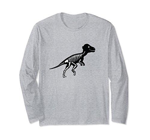 Unisex Pachycephalosaurus Fossil Long Sleeve Shirt Skeleton Large Heather Grey ()