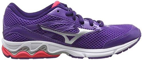 Mizuno Wave Inspire 12 Jnr - Zapatillas de running Niñas Morado - Purple (Royal Purple/Silver/Diva Pink)