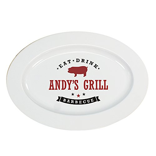 GiftsForYouNow Eat, Drink, Barbecue Personalized Platter, Pig -