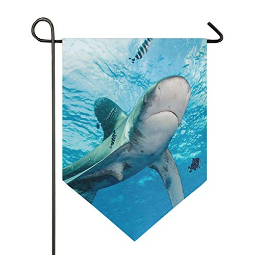 Green Shark Garden Flag Indoor & Outdoor Decorative Flags for Parade Sports Game Family Party Wall Banner Season Porch Lawn Double Sided 28 x 40 inches -