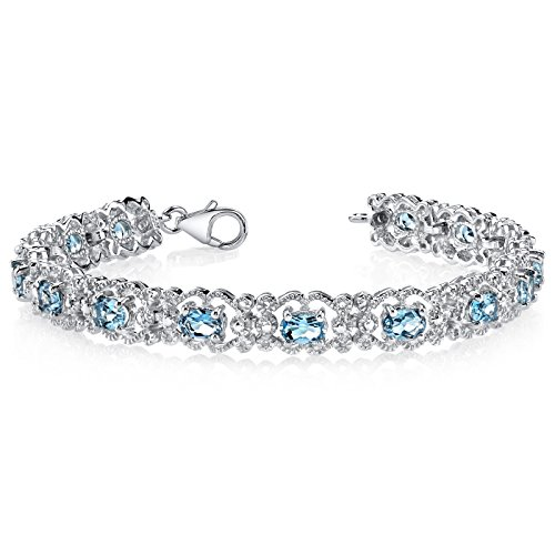 850-Carats-London-Blue-Topaz-Bracelet-Sterling-Silver-Rhodium-Nickel-Finish-Vintage-Style