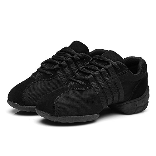 Roymall Mannen En Vrouwen Boost Dance Sneaker / Moderne Jazz Ballroom Performance Dance-sneakers Sportschoenen, Model T01 Zwart