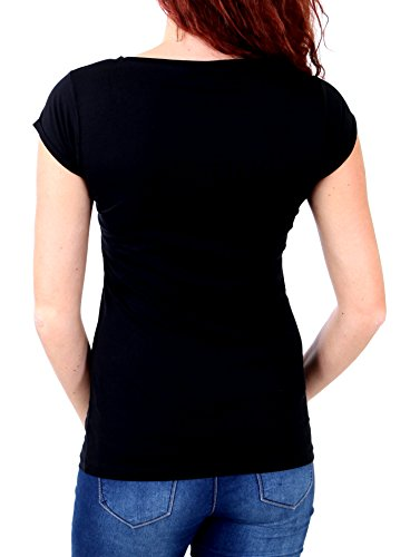 Madonna T-Shirt Damen NAIMA Rundhals Motiv Druck Shirt MF-408032 Schwarz 4M5FE4NmLt
